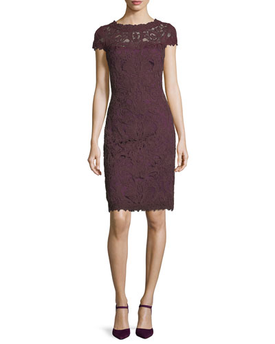Cap-Sleeve Sequined Lace Cocktail Dress