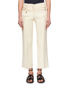 Lace-Up Cropped Bonded Crepe Straight-Leg Trousers