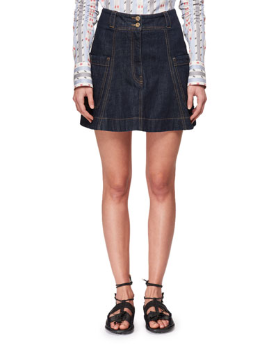 A-Line Mini Denim Skirt with Pocket