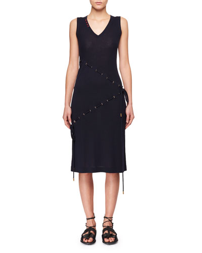V-Neck Sleeveless Cord-Knit Dress w/ Asymmetric Drawstrings