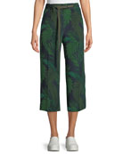 Leaf-Print Silk Mid-Rise Cropped Pants