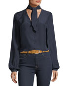 V-Neck Button-Front Silk Blouse with Scarf-Tie