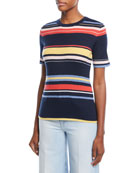 Crewneck Short-Sleeve Striped Rib-Knit Top