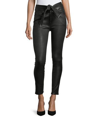 Waist-Tie Skinny-Leg Leather Pants