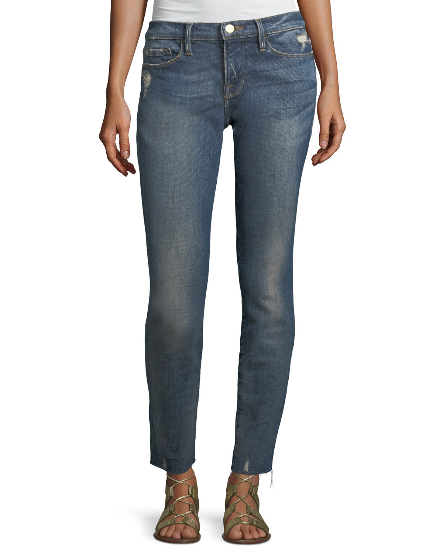 Le Skinny de Jeanne Low-Rise Jeans w/ Raw-Edge Hem