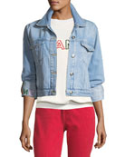 Le Embroidery Light-Wash Denim Jacket