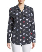 Signature Motorbike Button-Front Silk Shirt