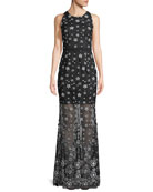 Illusion Sequin Sleeveless Gown