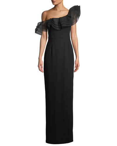 Ruffle Off-Shoulder Column Gown
