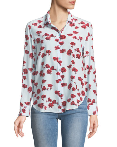 Leema Long-Sleeve Button-Front Floral-Print Silk Shirt