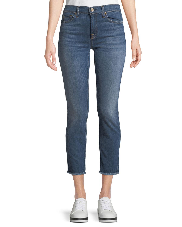 Roxanne Straight-Leg Ankle Fray-Hem Jeans