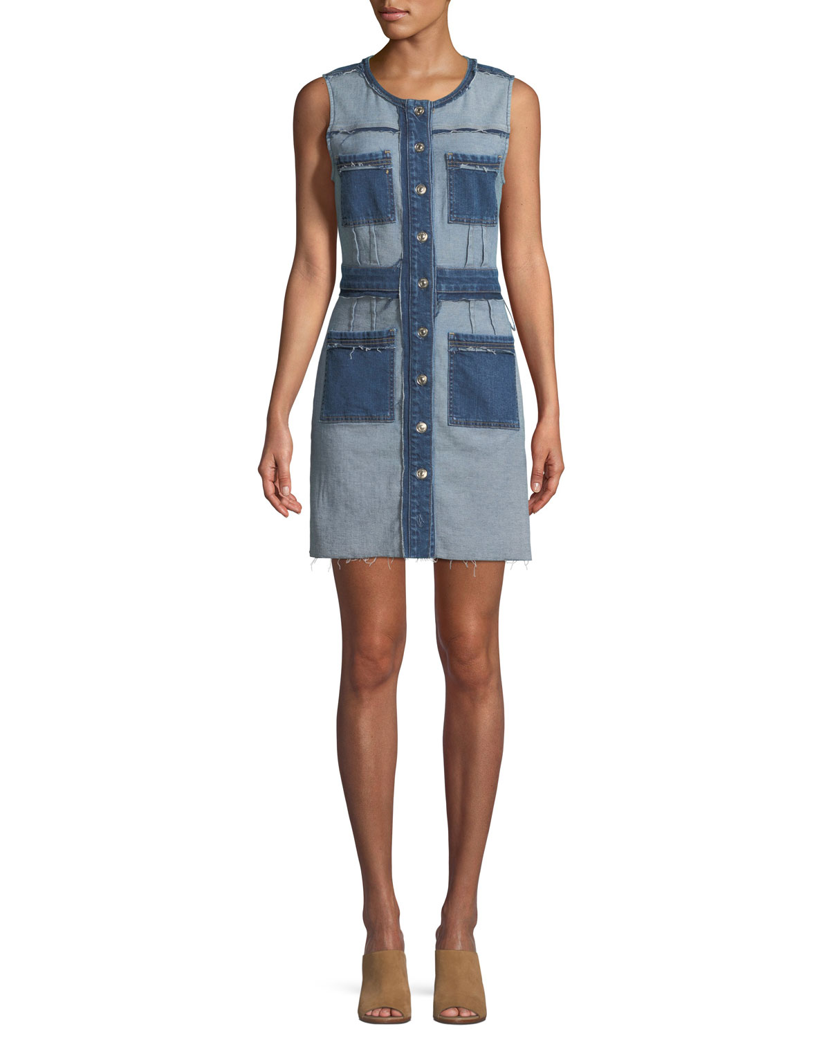 Inside-Out Button-Front Sleeveless Denim Dress