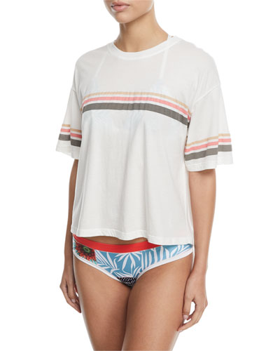 Jess Crewneck Short-Sleeve Cotton Tee with Stripes