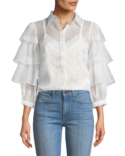 Mary-Alice Button-Down Tie-Cuffs Silk Blouse