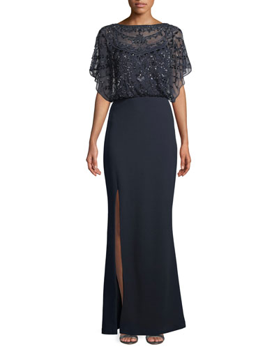 Embellished Split-Sleeve Gown