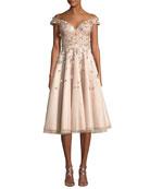 Off-the-Shoulder Embellished Cocktail Dress