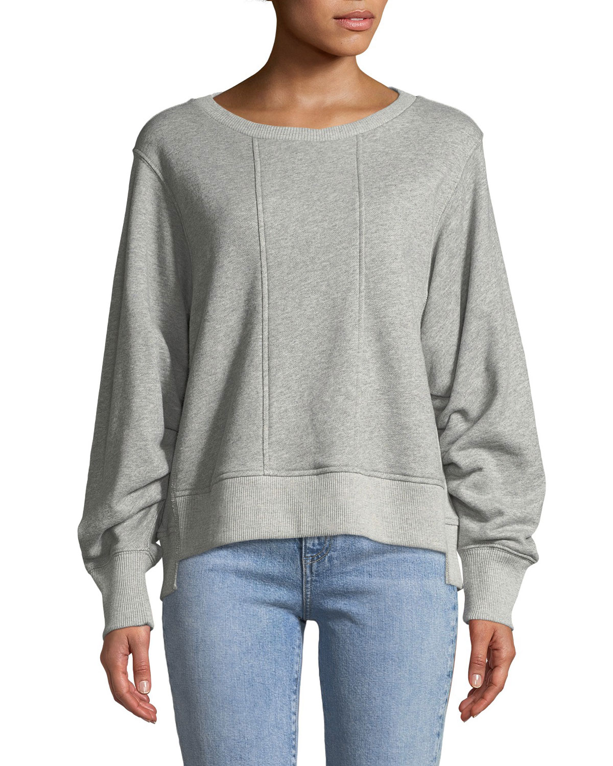 Tucked-Sleeve Crewneck Sweatshirt