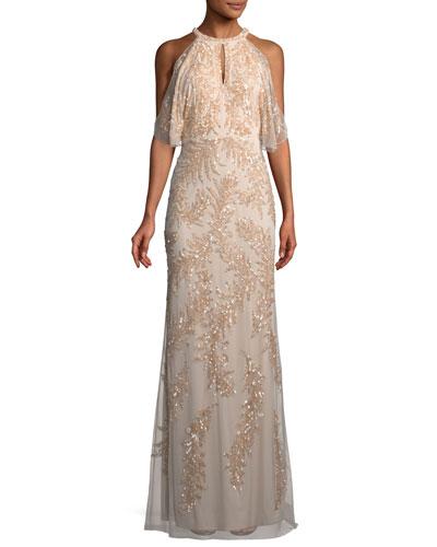 Embellished Sequin Cold-Shoulder Gown