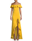 Off-the-Shoulder High-Low Ruffle Gown