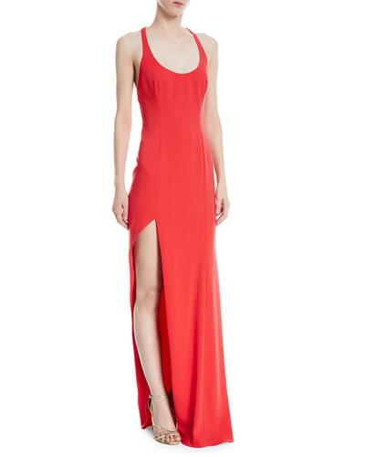 High-Slit Racerback Floor-Length Gown