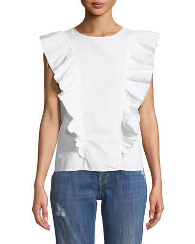 The Sleeveless Ruffle Cotton Top