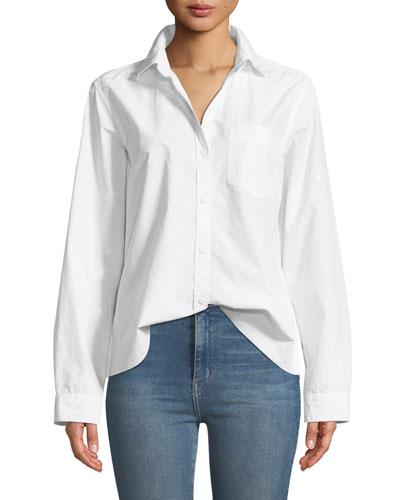The Ivie Button-Front Cross-Back Paint-Splatter Cotton Shirt