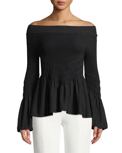 Off-the-Shoulder Smocked Knit Bell-Sleeve Top