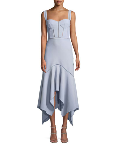 Seersucker Handkerchief Bustier Midi Cocktail Dress