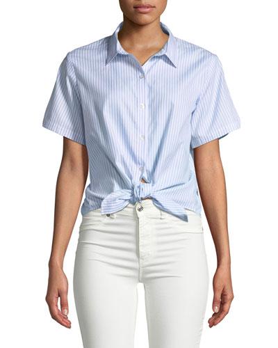 Wrapped Striped Oxford Tie-Waist Shirt