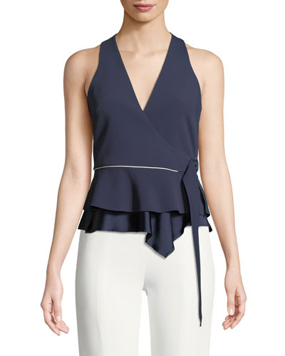 Satin Crepe Sleeveless Wrap Blouse