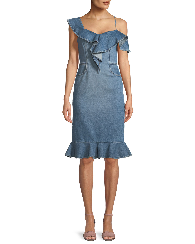 One-Shoulder Classic Denim Dress with Ruffles