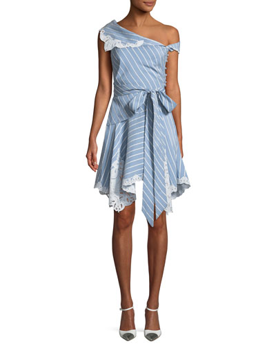 One-Shoulder Striped Mini Wrap Dress w/ Cutout Embroidery