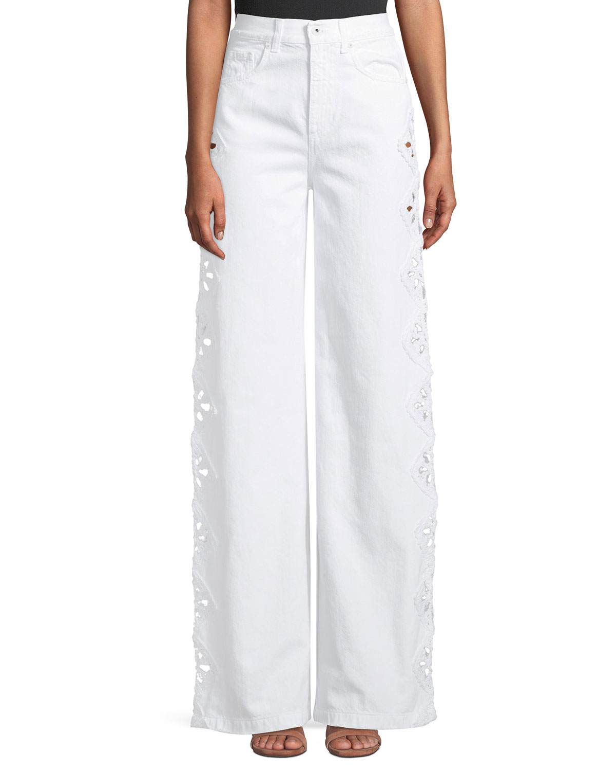 High-Rise Macrame Wide-Leg Jeans