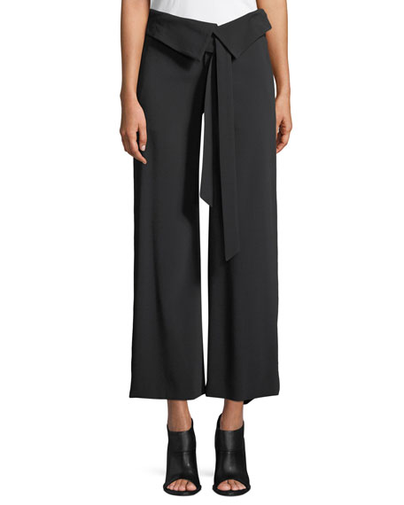 Jonathan Simkhai Deconstructed Satin Crepe Wide-Leg Fold-Over Crop Pants