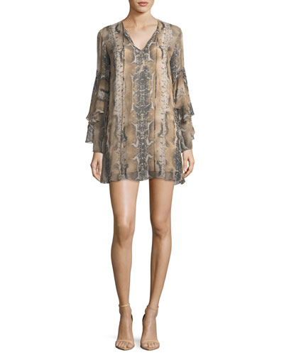 Rock and Roll Split-Neck Snake-Print Silk Mini Dress