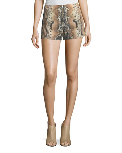 Haute Hippie  RIDING WILD SNAKE-PRINT SILK SHORTS