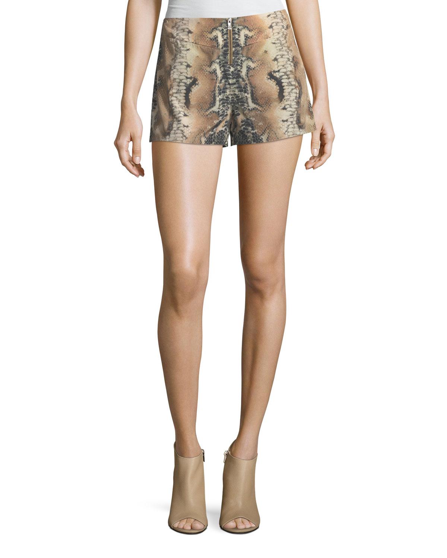 Riding Wild Snake-Print Silk Shorts