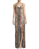 Sidewinder Cowl-Neck Sleeveless Maxi Dress