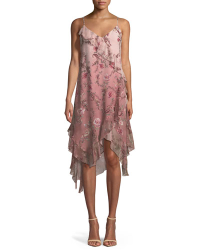 Robbers Roost A-Line Ruffle Rose-Print Chiffon Dress