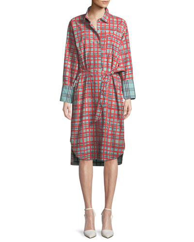 Isotto Check Contrast-Cuff Shirtdress