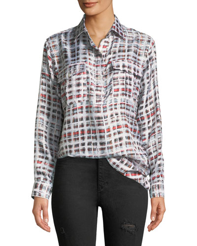 Sirena Two-Pocket Window-Check Silk Shirt