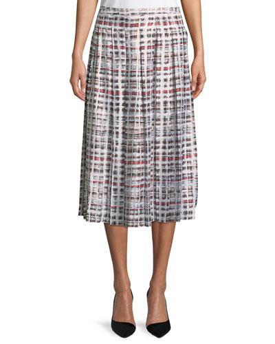 Farnborough Window-Check Pleated Silk Skirt