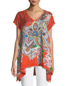Linko Babydoll Printed Silk Tunic, Plus Size