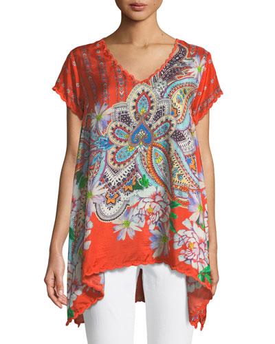 Linko Babydoll Printed Silk Tunic