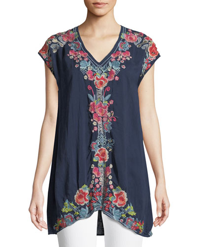 Pari Long Embroidered V-Neck Tunic, Plus Size