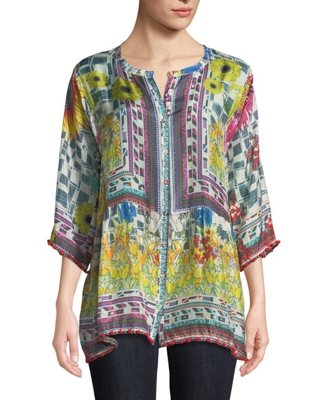 Johnny Was Plus Size Theda Printed Tunic w/ Pompom Trim