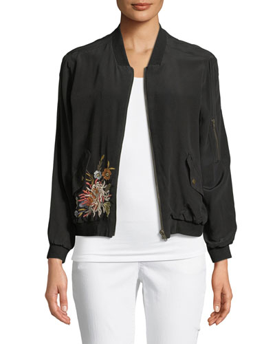 Cerriti Floral-Embroidered Silk Bomber Jacket