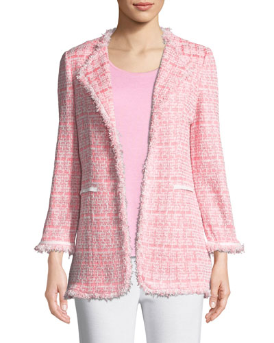 Plus Size Tweed Topper Jacket w/ Fringe Trim