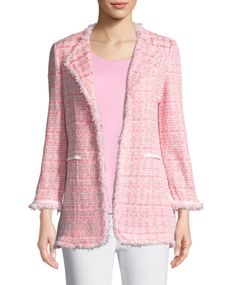 Misook Petite Tweed Topper Jacket w/ Fringe Trim