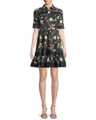 botanical short-sleeve poplin mini dress